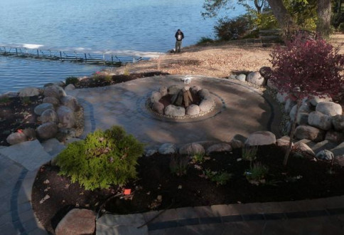 natural stone fire pit in lake zurich il